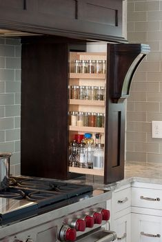 Such smart kitchen storage! Rebuilt Timber Frame Barn Home Kitchen - Kitchen… Farmhouse Kitchen Cabinets, Kitchen Cabinetry, Kitchen Redo, Kitchen Pantry, Organized Kitchen, Bathroom Cabinets, Kitchen Sinks, Kitchen Island, Tidy Kitchen