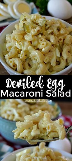 Deviled Egg Macaroni Salad is an easy pasta salad made with the ingredients for deviled eggs. Deviled Egg Macaroni Salad is an easy pasta salad made with the ingredients for deviled eggs. Yummy Pasta Recipes, Easy Salad Recipes, Side Dish Recipes, Cooking Recipes, Healthy Recipes, Easy Salads, Deviled Egg Pasta Salad Recipe, Deviled Egg Macaroni Salad Recipe, Mac Salad Recipe