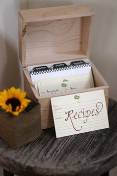 recipe box for guests to add to