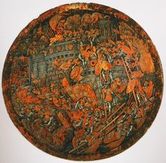 nice An Italian ceremonial shield with painting depicting The Battle of Cartagena during the Second Punic War in 209 BC
