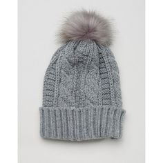 7X Knitted Beanie Hat With Faux Fur Pom Pom (50 RON) ❤ liked on Polyvore featuring accessories, hats, pompom hat, pom pom beanie hat, cable knit hat, cable knit pom pom beanie and faux fur hat
