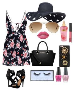 """""""Summer Date"""" by marymmgg on Polyvore featuring Glamorous, Michael Antonio, MICHAEL Michael Kors, Ray-Ban, Dolce&Gabbana, Lime Crime, NARS Cosmetics, Victoria's Secret and OPI"""