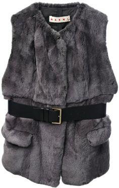 MARNI Gray Fur Gilet - Lyst