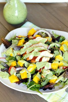Blackened Chicken and Mango Salad with Creamy Avocado Dressing.  I would use homemade yogurt.