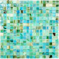 """GREEN & CLEAR TURQUOISE IRIDESCENT GLASS TILES $19 sheet size: 12"""" x 12""""     Tile Size: 5/8"""" x 5/8""""     Tiles per sheet: 324     Tile thickness: 1/8""""     Grout Joints: 1/8""""     Sheet Mount:Plastic Face     As these tiles are handmade, they may have chipped corners.     Sold by the sheet"""