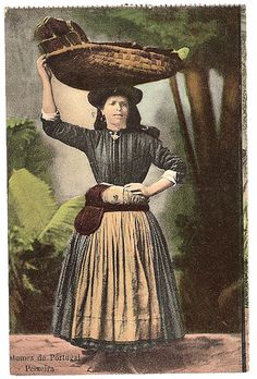 Vintage postcard, Fish Sales Woman by CGoulao, via Flickr