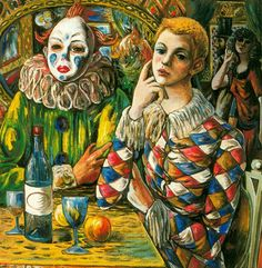 Expressionism — Harlequin and clown with mask by Rafael Zabaleta...