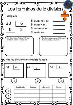 Colección de fichas aprendemos a dividir - Imagenes Educativas Number Sense Kindergarten, Kindergarten Math, Math Graphic Organizers, Math Numbers, Math Notebooks, First Grade Math, Math For Kids, Multiplication, Math Fractions
