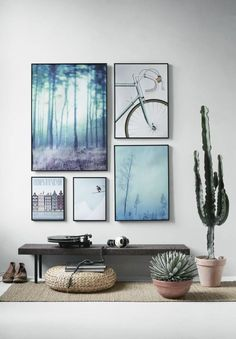 Frames arranged in a square. Picture wall. Gallery wall.