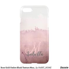 Rose Gold Ombre Blush Texture Monogram iPhone 8/7 Case Case Case #iPhone Case #monogram #technology #phonecase, #editable #case, #iphone, #samsung,  #shopping #onlineshopping #buyart #art #glamour #sparkle #girly #trendy #utart #zazzle