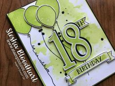 Stampin' Up! Number of Years Photopolymer Stamp Set, Large Numbers Framelits Dies, Balloon Celebrations Stamp Set and Balloon Bouquet Punch, Birthday Card with Lemon-Lime Twist and Basic Black created by Stesha Bloodhart, Stampin' Hoot! 16th Birthday Card, Birthday Cards For Brother, Homemade Birthday Cards, Birthday Cards For Boys, Birthday Numbers, Scrapbook Cards, Scrapbooking, Milestone Birthdays, Cards For Friends