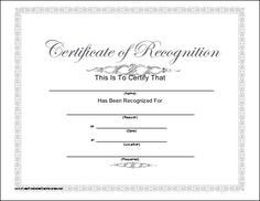 This printable certificate of recognition has a script title and subtle blue-grey tones. Free to download and print