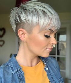 24 Popular Short Undercut Pixie Hairstyle To Look Great - Short white pixie haircut, short haircut i Short Haircut Styles, Cool Short Hairstyles, Short Pixie Haircuts, Pixie Hairstyles, Long Hair Styles, Hairstyle Short, Hairstyle Ideas, Short Hair Syles, Short Grey Hair