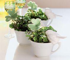Plantas são um ótimo jeito de trazer vida para a casa. E não precisam ser arranjos chiques da floricultura – basta um verdinho, destes de supermercado. Para a apresentação, coloque os vasinhos dentro de xícaras e enfeite com acessórios de feltro
