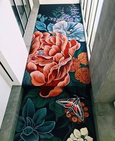 Ouizi at Crystal Bridges Museum in Bentonville, Arkansas, USA, 2018 Murals Street Art, Graffiti Art, Graffiti Flowers, Mural Wall Art, Mural Painting, Paintings, Flower Mural, Home And Deco, Chalk Art