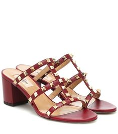 Valentino Garavani, Warm Weather, Calf Leather, Leather Sandals, Designer Shoes, Block Heels, Studs, Burgundy, Women Wear
