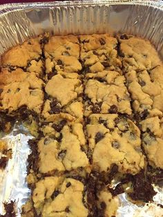 Lazy Chocolate Chip Cookie Bars  1 stick of butter 2 eggs 1 yellow cake mix 1 bag of semi-sweet chocolate chips  How to make it 1. Melt butter in bowl 2. Whisk together with eggs 3. Stir in cake mix 4. Mix in chocolate chips 5. Press into greased pan 6. Bake at 350– 9×13 for 20 min, smaller pans 25-28 min. Please say something when you see the recipe! Saying ANYthing is good, it helps you continue seeing my posts! Thank you!