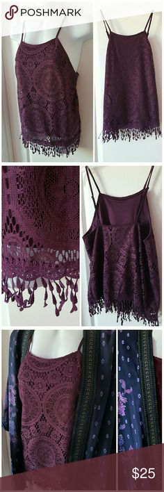 """🌟New Arrival 🌟 Xhilaration Rich Plum colored, fully lined, adjustable tee strap with crocheted fringe at the hem. 100% polyester. Lentgh 20 1/4"""" to the end of fringe, FLAT measurement  for bustline 17"""". Xhilaration Tops"""