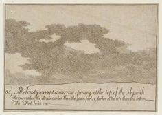 ffyske:  Alexander Cozens(1717–1786) 35. All Cloudy, except a Narrow Opening at the Top of the Sky, with Others Smaller, the Clouds Darker than the Plain Part, and Darker at the Top than the Bottom. The Tint Twice Over, from A New Method for Assisting the Invention in the Composition of Landscape, date not known [Tate]