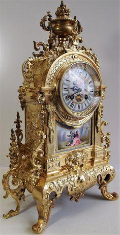 Antique Mantel Clocks, Antique Desk, Mantle Clock, Antique Furniture, Vintage Clocks, Plywood Furniture, Vintage Decor, Unusual Clocks, Cool Clocks