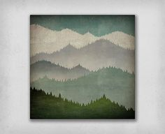 FIRST SNOW winter mountains graphic art Stretched Canvas - 24x24x1.5 - inches Read to Hang Wall Art