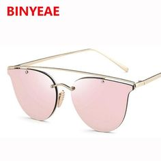 29a01c3765856 FuzWeb Fashion pink Sunglasses Women CatEye male Mirror flat top Sunglasses  Men eyewear Vintage sunglass