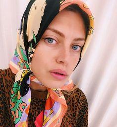Clio Raffalli wearing Karen Mabon Panda Baby Shower illustrated silk scarf