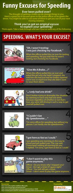 Speeding excuses run from 'real' to ridiculous! Before you try to talk your way out of the ticket, take a look at this list of commonly used excuses.