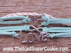 Anchor Bracelet Love Infinity Charm Teen Girls Faux Leather Women Jewelry