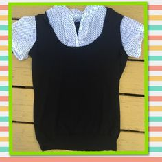 Dress shirt sweater vest combination top Black and white polka dots with Ruffles all in one dress shirt sweater vest lightweight Ann Taylor Loft Tops