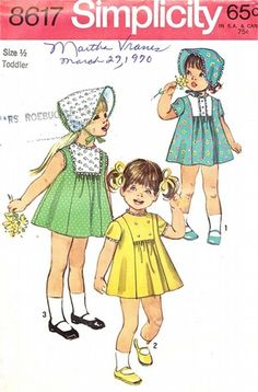 Simplicity Pattern 8617 Vintage 70's Toddlers Dress and Bonnet - Three Versions! Uncut Size 6 months