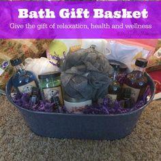 Bath Gift Basket Idea with Essential Oils