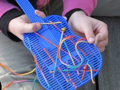 Pre-writing/Fine motor: sewing practice on fly swatters! Preschool Fine Motor Skills, Motor Skills Activities, Montessori Activities, Gross Motor Skills, Activities For Kids, Play Based Learning, Kids Learning, K Crafts, Montessori Practical Life