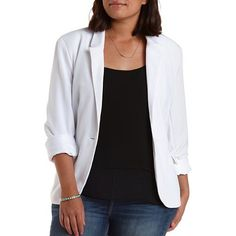 Plus Size Single Button Boyfriend Blazer: Charlotte Russe