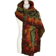 Nunofelted scarf autumn 04 unique handmade by ArtMode on Etsy