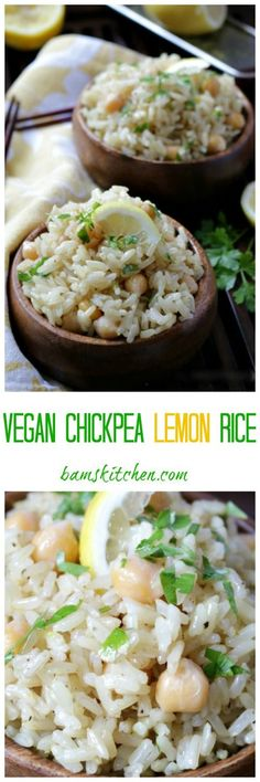 Vegan Chickpea Lemon Rice/ http://bamskitchen.com