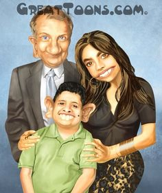 The Pritchards family caricature from Modern Family