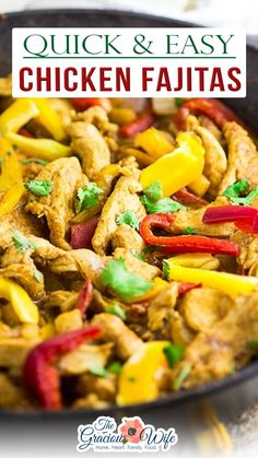 Easy Chicken Fajitas are the perfect way to get a delicious and healthy dinner on the table in 30 minutes! A very simple marinade adds amazing flavor! These are the BEST chicken fajitas, and the marinade is seriously the best I've ever tried. Better than any restaurant! This easy Chicken Fajitas recipe is super flavorful, made with chicken breast, homemade fajita seasoning, and lime juice. The lime juice is absolutely essential. Trust me on this one. | @thegraciouswife #easycincodemayotacos Easy Chicken Fajitas, Chicken Fajita Recipe, Supper Recipes, Healthy Dinner Recipes, Breakfast Recipes, Skinny Chicken Recipes, Homemade Fajita Seasoning, Yum Yum Chicken, Menu Planning