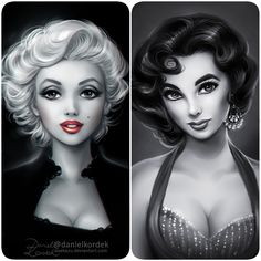 Marilyn and Liz - I always wanted draw them together. Maybe I'll do it soon. ;]
