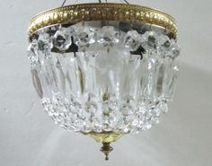 Vintage Small Round Crystal Chandelier Hanging Light  Flush Mount to Ceiling   Cute.