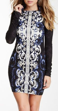 Printed Long Sleeve Cowl Neck Dress
