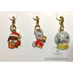 Pokemon Center 2016 Christmas Campaign Eevee Delibird Snorunt Set Of 3 Charms (Version #2)