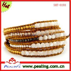 5 wrap bracelet with graduated white mother of pearl semi precious stones mixed nuggets on henna leather, View mother of pearl stone bracelet , pealing Product Details from Guangzhou Pealing Jewelry Co., Ltd. on Alibaba.com