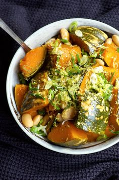 Simmered Pumpkin with White Beans. Tender Japanese-style simmered pumpkin with  butter beans, lemon zest and spring onions. Vegan and gluten free.