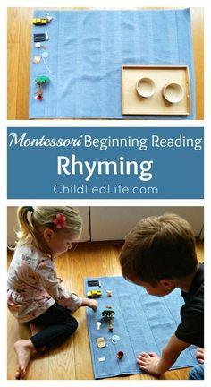 Montessori Beginning Reading: Rhyming - Child Led Life can you homeschool montessori Montessori Baby, Montessori Homeschool, Montessori Classroom, Kindergarten Literacy, Early Literacy, Homeschooling, Montessori Elementary, Montessori Trays, Montessori Bedroom