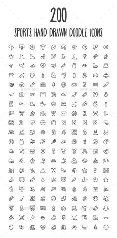 200 Sports Hand Drawn Doodle Icons - Icons