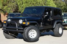 """2004 Black LJ Jeep Wrangler Unlimited - Only Available for 3 Years! 118k Miles, Automatic, Hard Top 3"""" Lift w/33"""" Super Swampers - $17,995. http://www.selectjeeps.com/inventory/view/8898959/2004-Jeep-Wrangler-2dr-Unlimited-LWB-League-City-TX"""