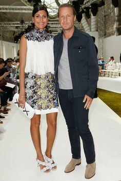 Giovanna Battaglia and Oscar Engelbert attend Giambattista Valli Fall 2016 Couture Fashion Show Front Row on July 4, 2016 in Paris