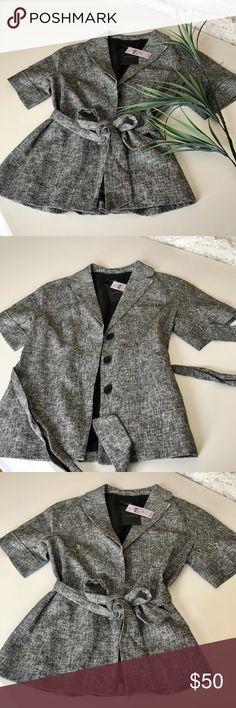 Ann Taylor Loft Blazer Black & White short sleeved button down belted blazer.  Size 2 petite Ann Taylor Jackets & Coats Blazers
