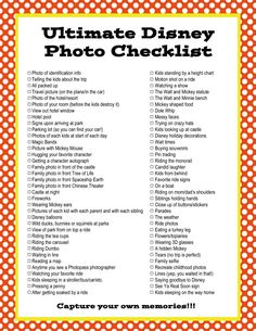 The Ultimate Disney Photo Checklist will help you remember to capture every memory on your Disney vacation. Print this list and pack for your trip.